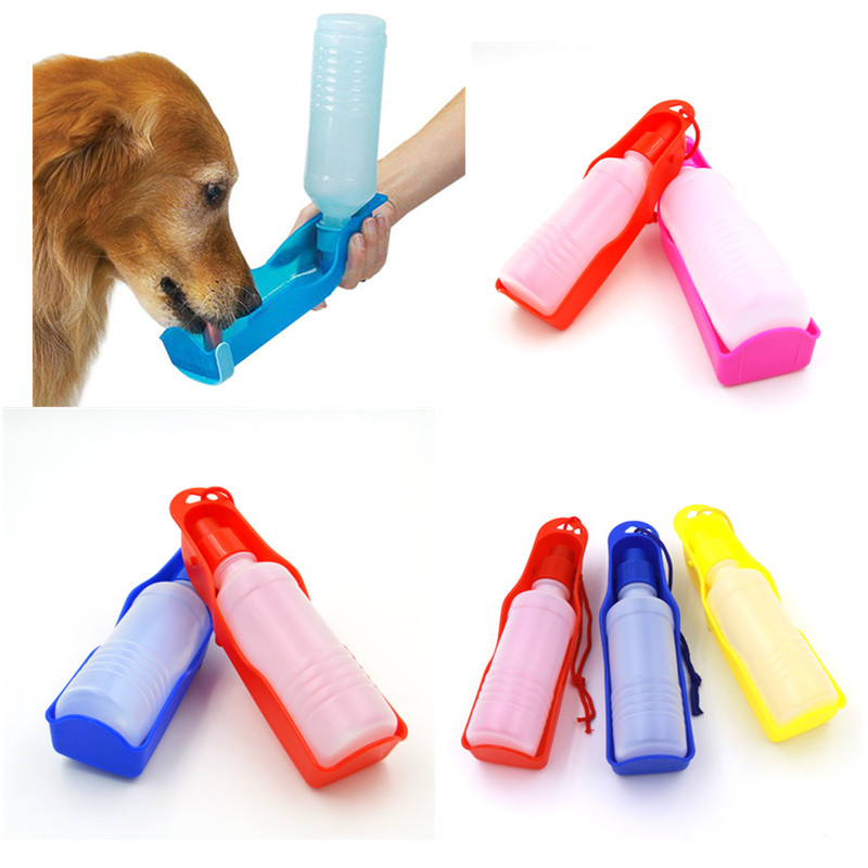 1pc Foldable Pet Dog Drinking Water Bottles Protable Travel Hand Held Puppy Dogs Squeeze Water Bottle Dispenser 250ml