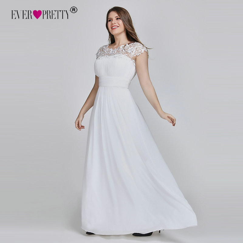 Vestido De Noiva Ever Pretty Plus Size Elegant Lace Appliques Chiffon White Bride Gowns For Women Wedding Dress Pregnant 2020