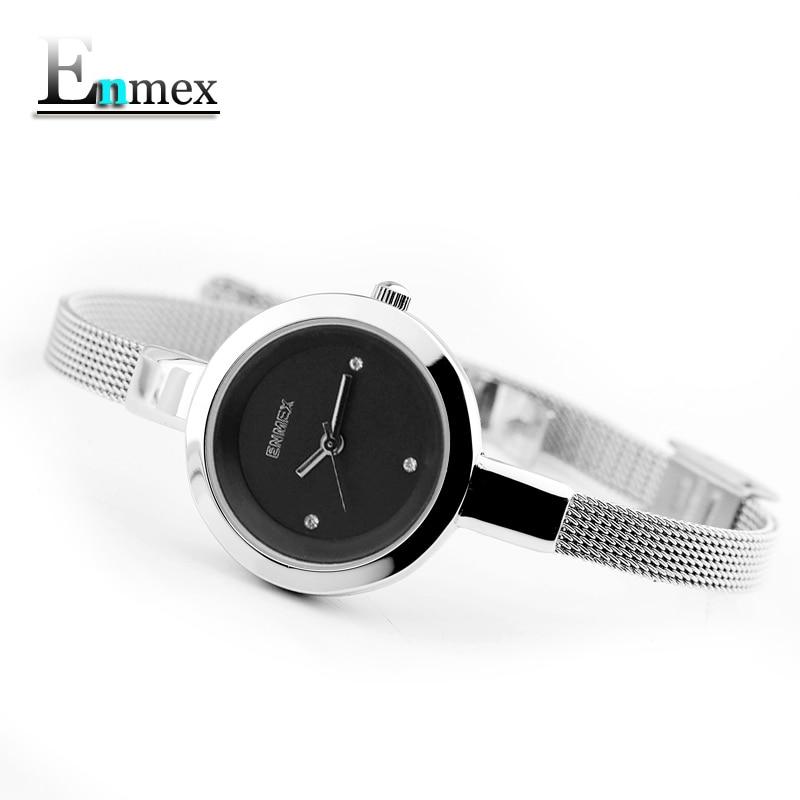 2018 Regalo conmemorativo Enmex mujeres creativo acero inoxidable correa delgada reloj elegante joven elegante moda cuarzo señora relojes