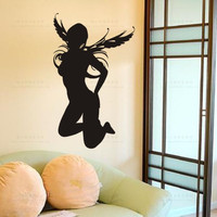 セクシーな女の子美容ボディパブバー天使ウォールステッカー、女性の裸の女の子壁デカールktvパブバーショップステッカ