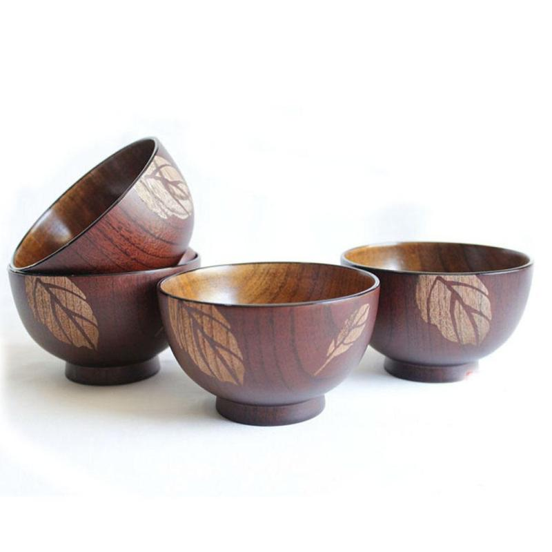 Large soup bowl jujube wood handmade healthy food containers traditional dinner dishes vintage Japanese style L45