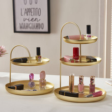 2/3 Tier Gold Home Storage Racks Bathroom Organizer Cosmetic Lipstick Perfume Holder Shelf Home Table Food Cake Plates(China)