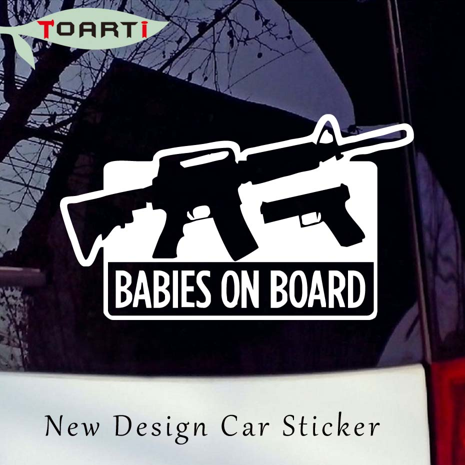 gun BACK OFF BABY on Board Funny Car Graphics Window Sticker Decal US Seller