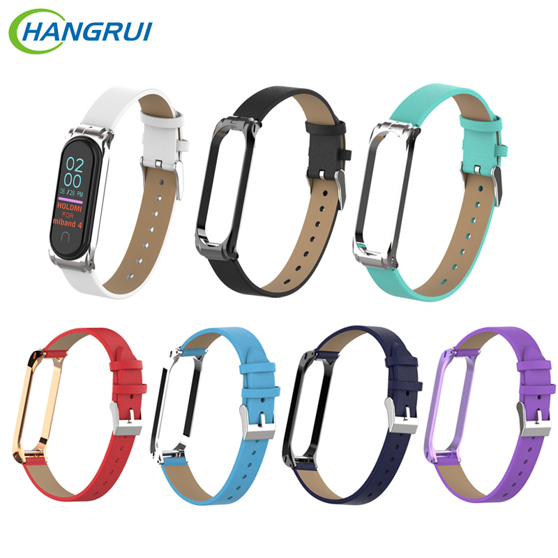 Colorful Leather Strap For Xiaomi Mi Band 3 Smart Wristband Fashion Sport Watch Band For Mi Band 4 Replacement With Metal Case