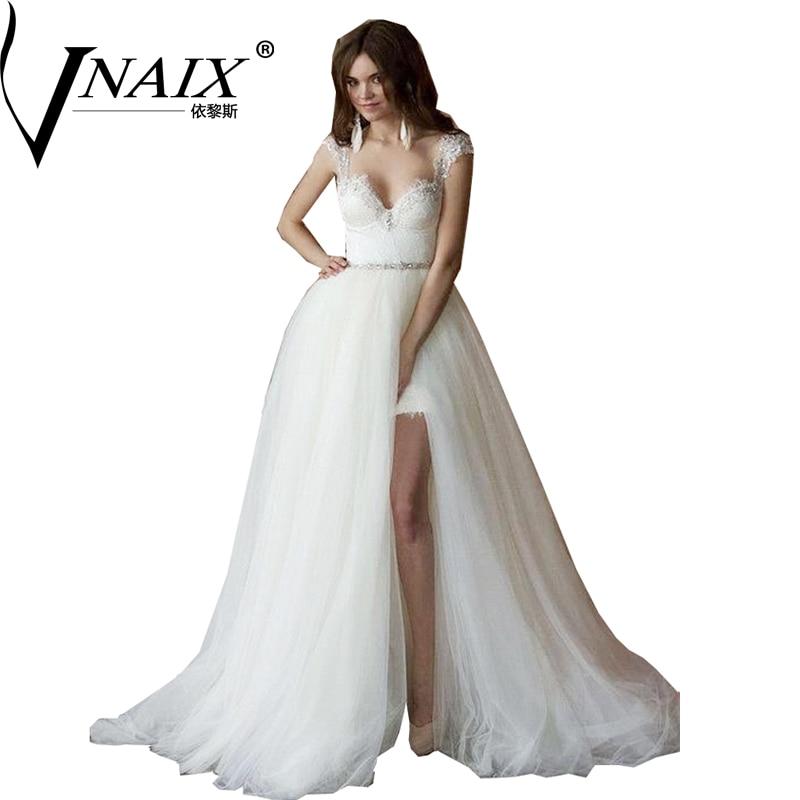 Hi Lo Wedding Gowns: WDZ7024 Wedding Dress With Detachable Train Overskirt