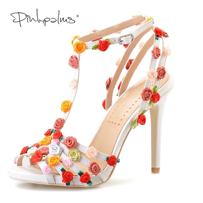 Pink Palms women summer sandals floral high heel shoes custom handmade sweet flowers sandals цена 2017