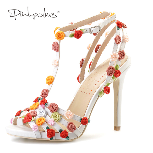 Pink palms women summer sandals floral high heel shoes custom pink palms women summer sandals floral high heel shoes custom handmade sweet flowers sandals mightylinksfo Gallery