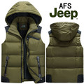 2017 NEW arrival AFS JEEP autumn winter men's large with hood sleek duck down vest male fashion casual L XL 2XL 3XL 4XL5XL