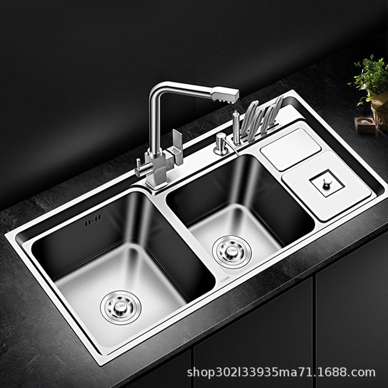 Sus304 Stainless Steel Kitchen Sink Double Bowl Thickness Sinks Kitchen Above Counter Or Udermount Sinks Vegetable Washing Basin Kitchen Sinks Aliexpress