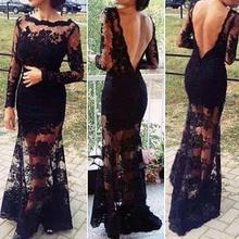 Fashion Sexy Vintage Women Black Long Lace Dress 2018 Backless Fitted Slit Crochet Floor Maxi Party Dresses Vestidos De Fiesta