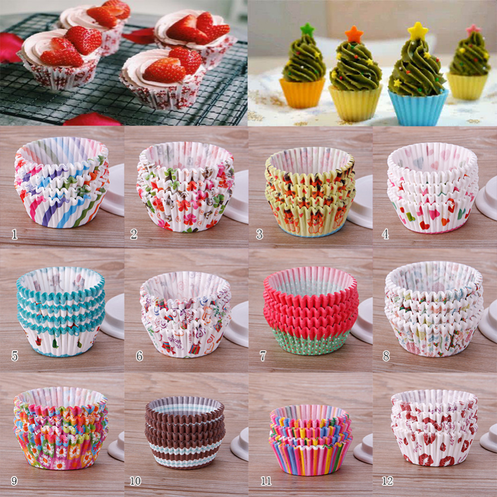 Kitchen Cake Tools 100Pcs/Pack Mini Paper Cupcake Mold Muffin Cupcake Paper Cups Tray Baking Decorating Tools Pastry Cup #246731