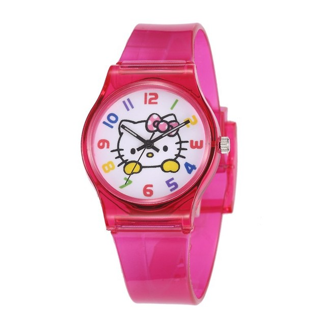 2018 Lovely Hello Kitty Children Watch Kids Watches Transparent Silicone Student