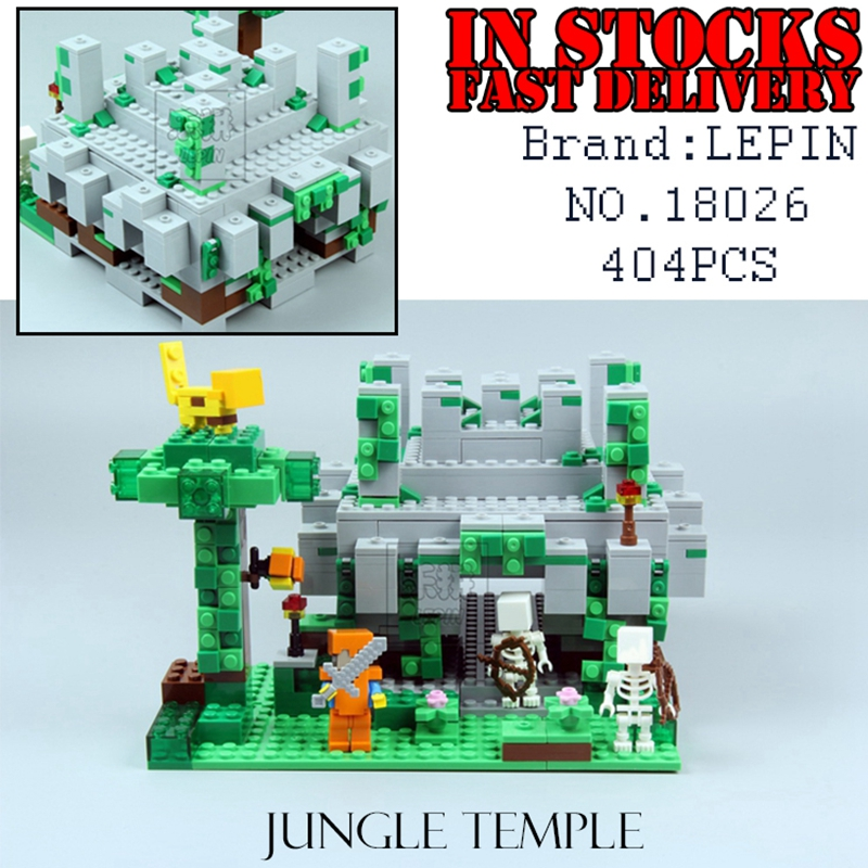 Lepin 404pcs My World The Jungle Temple Minecraft Model kit anime action figure Building Block Bricks hot Toy For Children 21132 walking through the jungle