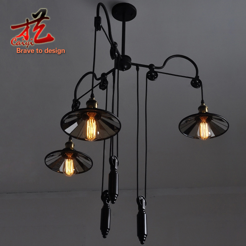 Pendant Lights Vintage Loft Industrial Pulley Retractable Mirror Pendant  Lamps Wrought Iron Industrial Lighting Fixture Decor