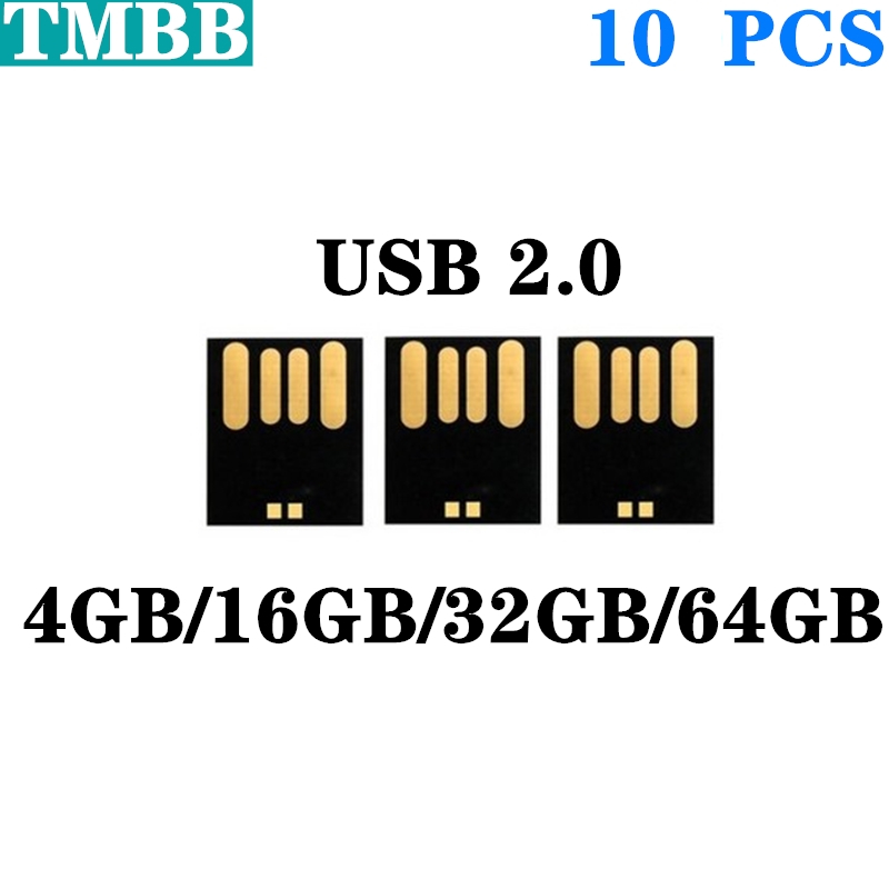 2020 10pcs Waterproof Short USB Disk Package 128M 2GB 4GB 8GB 16GB 32GB 64G USB 2.0 Flash Disk Semi-finished Products Wholesale