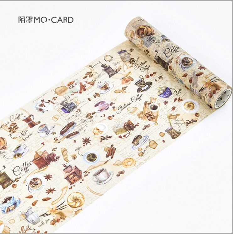 200mm wide Vintage World Coffee Food Diary Decorative Washi Tape DIY Planner Scrapbooking Album Masking Tape Escolar 200mm wide vintage city sculpture holiday travel diary decorative washi tape diy planner scrapbooking album masking tape escolar