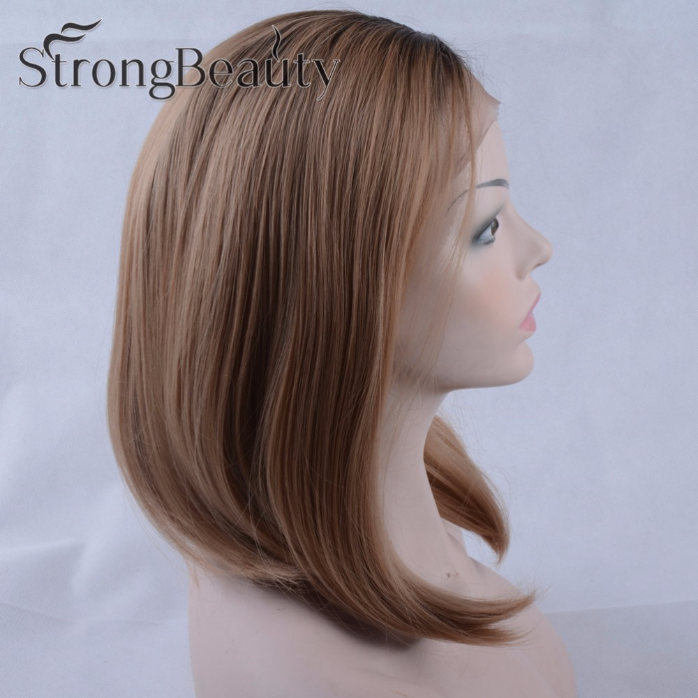 Ombre Short Bob Lace Front Wigs Brown Roots To Strawberry Blonde Wig