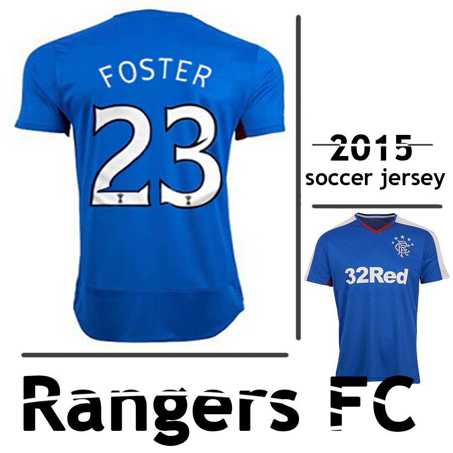 5af7624d190 2015 2016 Best Thailand Quality Scotland Glasgow Rangers FC Club Blue home soccer  Jersey LAW CLARK FOSTER football Shirt