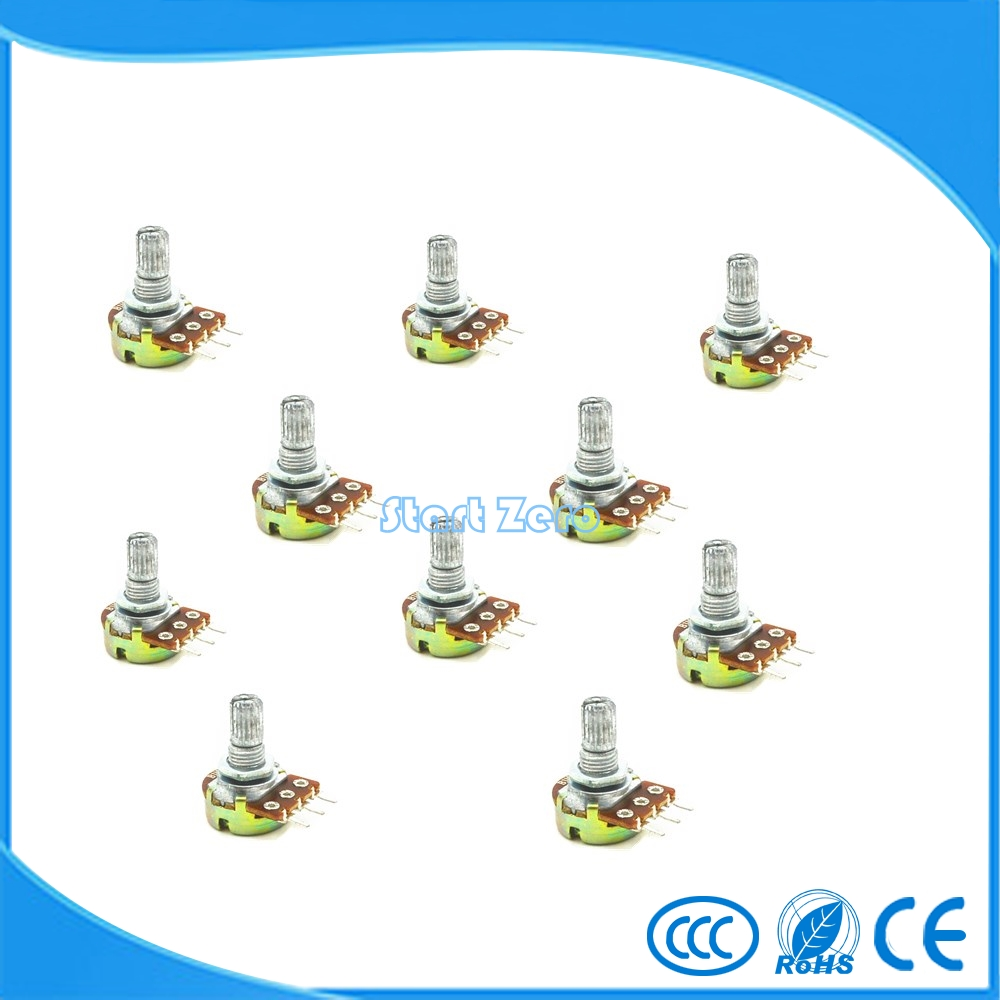 10PCS WH148 B1K~B1M ohm Linear Single  Rotary  Potentiometer 15mm Shaft With Nuts And Washers 3Pin 5pcs b1m 13mm knurled shaft rotary single linear taper potentiometers