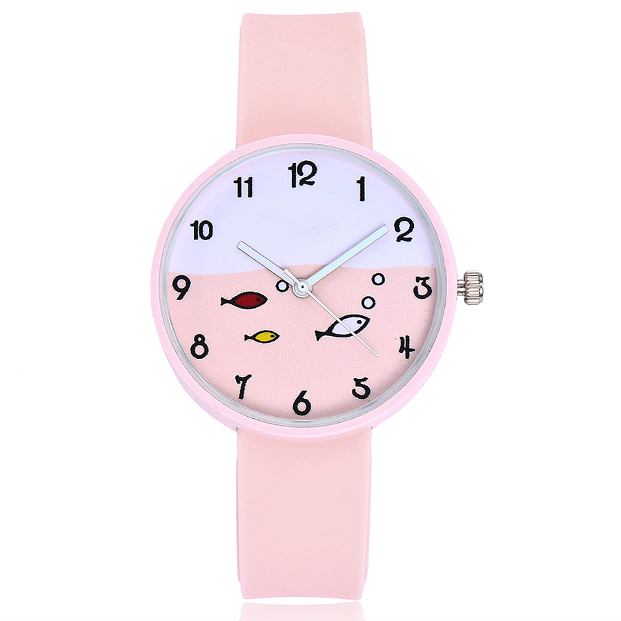 Hot Sale Silicone Watch Women Fashion Casual Cute Small Fish Pattern Ladies Quartz Watch Girl Gift Clock Relogio Feminino 5pack 10pcs hot sale new cute silicone finger pointing bookmark book mark office supply funny gift