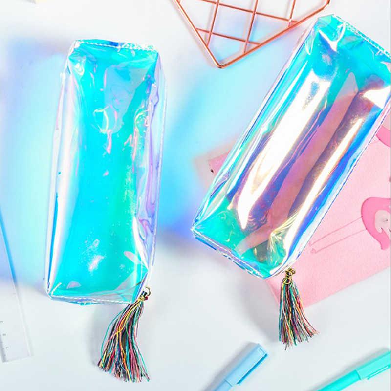 b46e6818e26b PU Transparent Hologram Holographic Makeup Bag Iridescent Laser Pencil Case  Quality Pencilcase School Supplies Stationery Gift