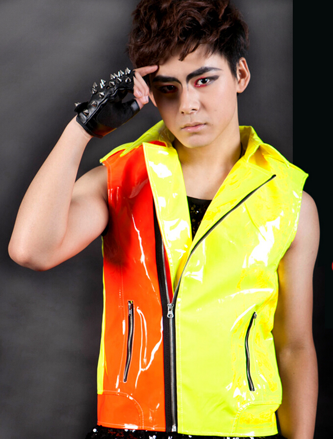 2016 Fashion Mens Clothing Personalized Neon Color Block Motorcycle Leather Vest Costume Singer Costumes Clothing To Invigorate Health Effectively Xs-xxxl Vests & Waistcoats Men's Clothing
