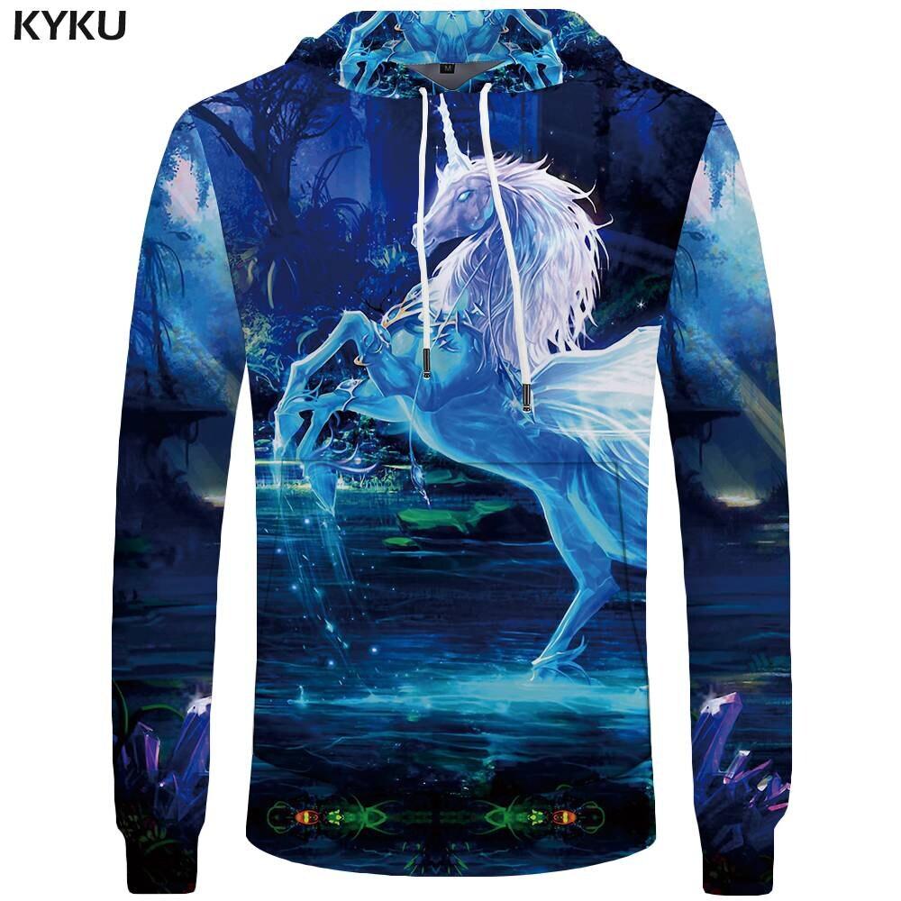KYKU Brand Unicorn Hoodies Men Water Pocket Forest Sweatshirts 3d Hoodies Sweatshirt Mens Clothing Hoddie Hood Funny Casual
