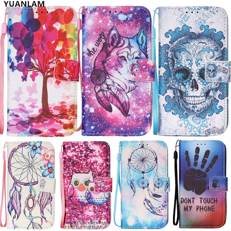 Skeleton tree flower bird desgin cover coque 6 6 plus 5s 5 se pu Leather Stand Flip Wallet Cover For iPhone 7 8 Card Holder