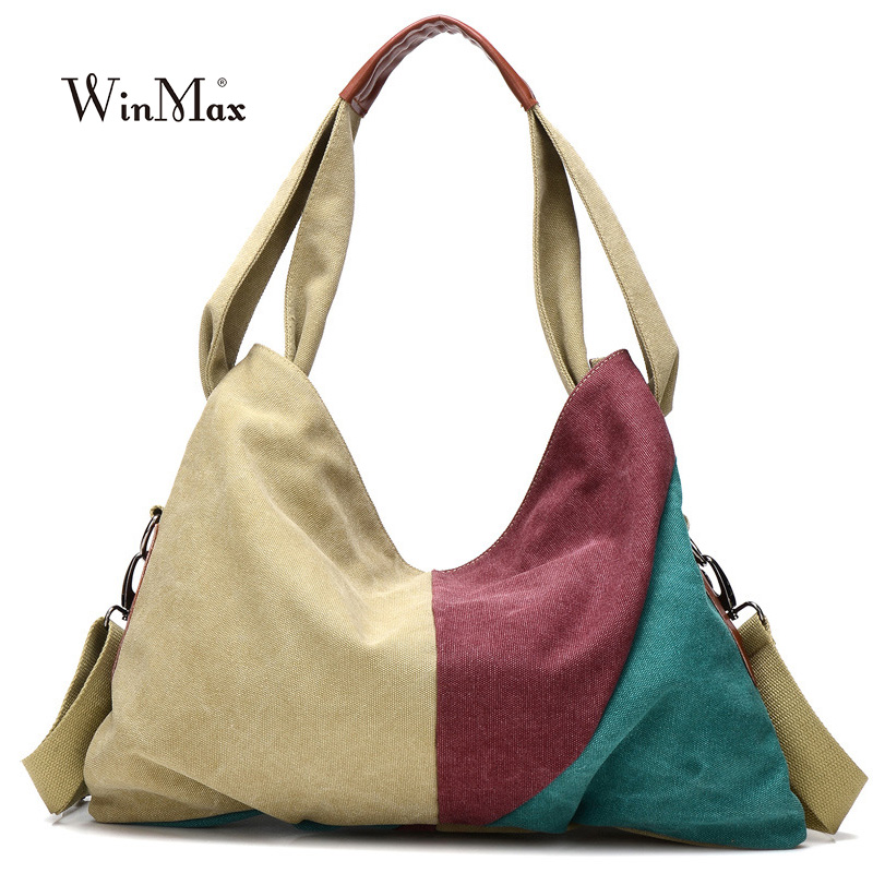 Winmax Canvas Women Messenger Bags High Quality half moon Tote Big Handbag rainbow panelled top-handle Bag long Strap belt bolsa