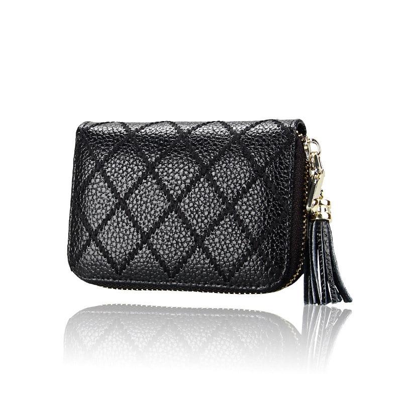 все цены на Fashion Genuine Leather Bank Card Holder Organ Style Card Case Zipper Wallet With Tassel Female Money Bag Coin Bag Women Wallet онлайн