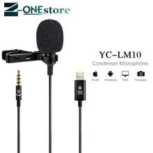 YC LM10 Del Telefono Audio Video di Registrazione Lavalier Microfono A Condensatore per iPhone 8 7 6 5 4 S 4 Sumsang GALAXY 4 lg G3 htc come BY LM10