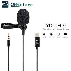 Image 1 - YC LM10 الهاتف الصوت والفيديو تسجيل Lavalier مكثف ميكروفون ل iPhone 8 7 6 5 4s 4 Sumsang GALAXY 4 LG G3 HTC as BY LM10