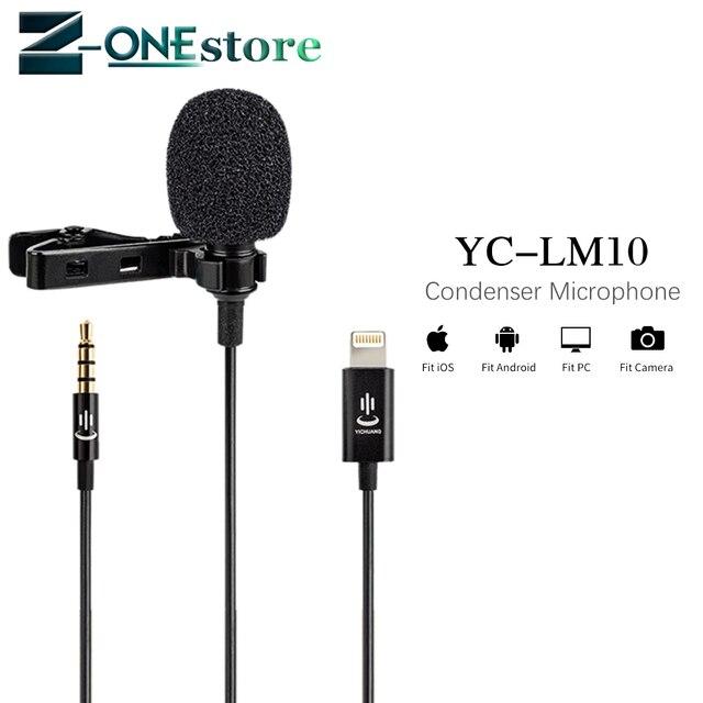 YC LM10 الهاتف الصوت والفيديو تسجيل Lavalier مكثف ميكروفون ل iPhone 8 7 6 5 4s 4 Sumsang GALAXY 4 LG G3 HTC as BY LM10