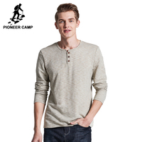 Pioneer Camp 2016 New Autumn Men T Shirt Long Sleeve Cotton Fashion Casual Elastic Slim Fit