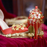Chinese 2018 New Red Wedding High Heel 8cm Summer Ponited Head 34 42 Shallow Flowers Decorate Bride Party Wearing
