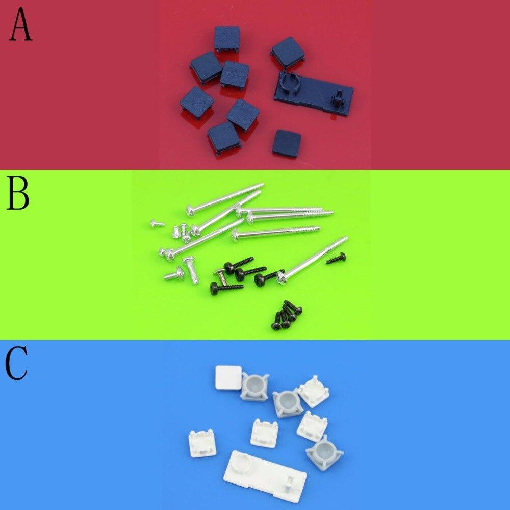 YuXi White/BLACK Plastic For PS3 Slim Console Screws W/ Screw Rubber Feet Cover Set