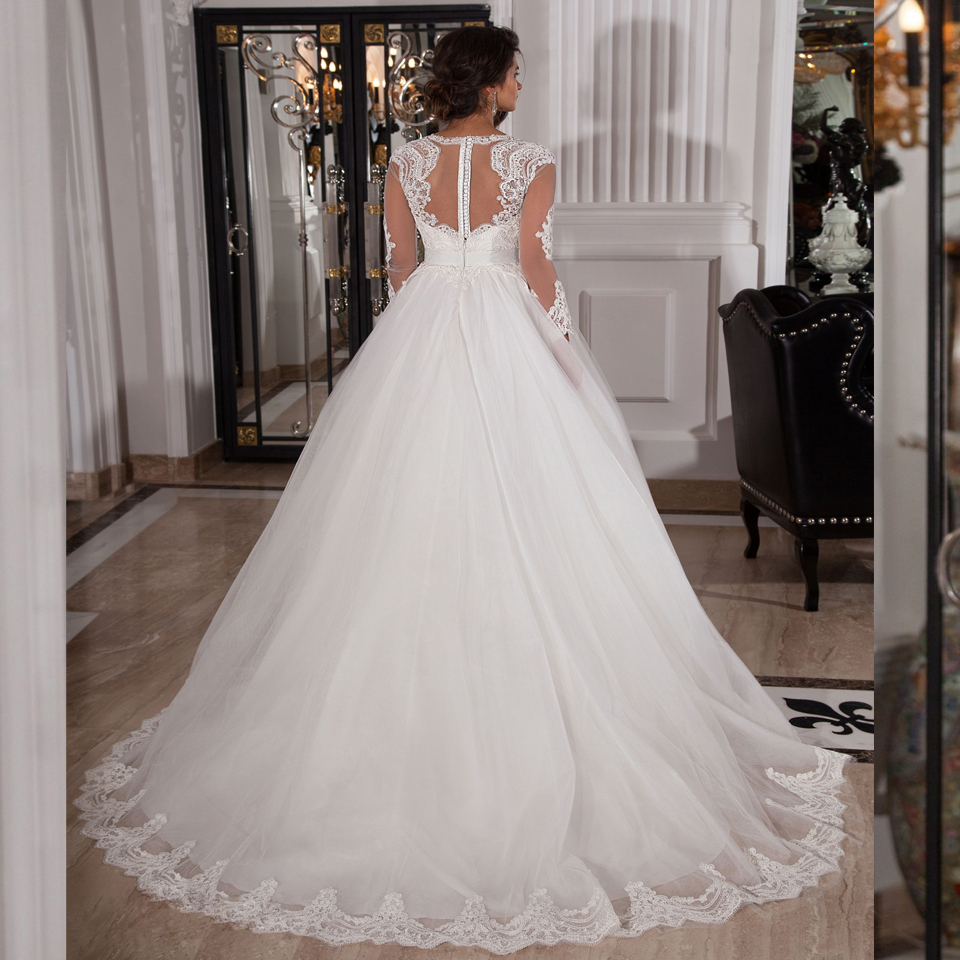 See Through Long Sleeve Lace appliques Wedding Dress Vestido De Noiva Casamento Robe De Mariage 2019 Romantic Wedding Dresses in Wedding Dresses from Weddings Events