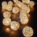20 LED White Rattan Wooden Cane Wicker Balls Fairy LED Lights 5M for Christmas
