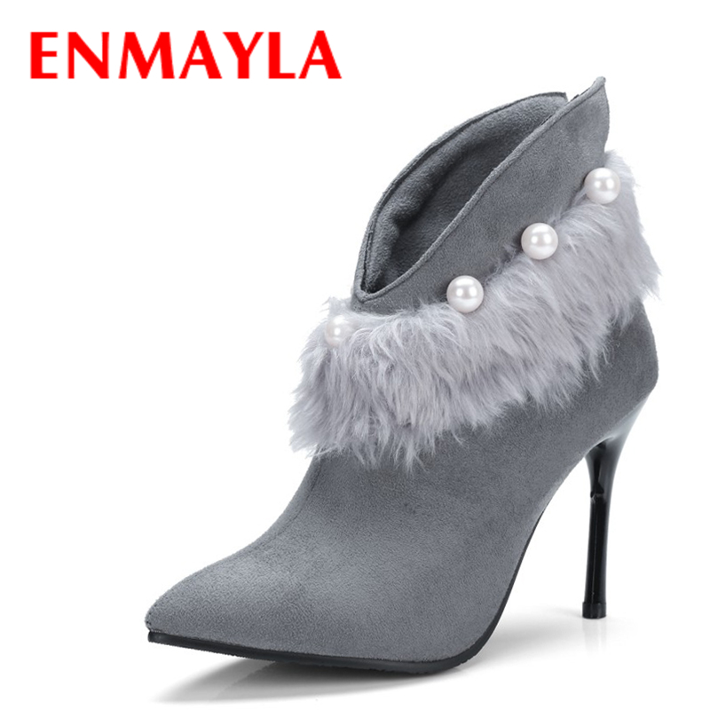 ENMAYLA Fashion Sexy Thin Heels Pointed Toe Ankle Boots Women Beading Pearl Fur Faux Suede Black Boots High Heels Pumps Shoes enmayla autumn winter chelsea ankle boots for women faux suede square toe high heels shoes woman chunky heels boots khaki black