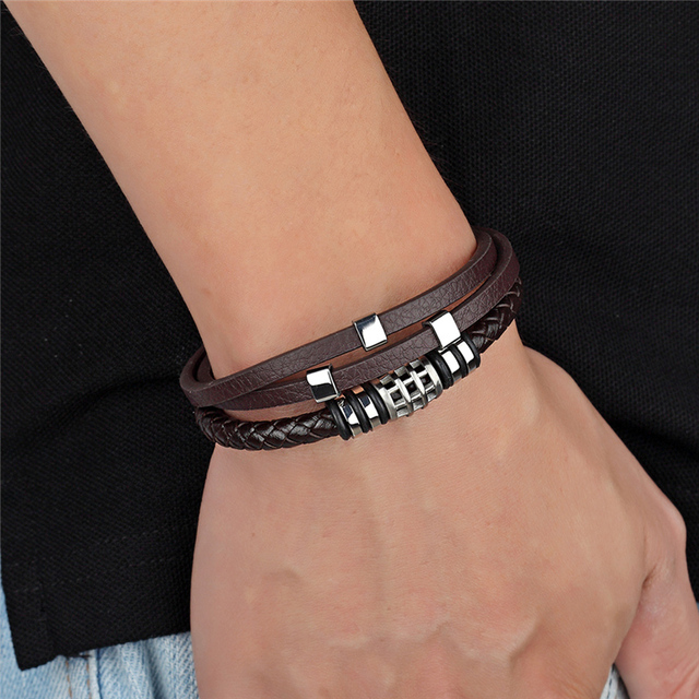 Мужской Многослойный кожаный браслет с магнитной пряжкой из
