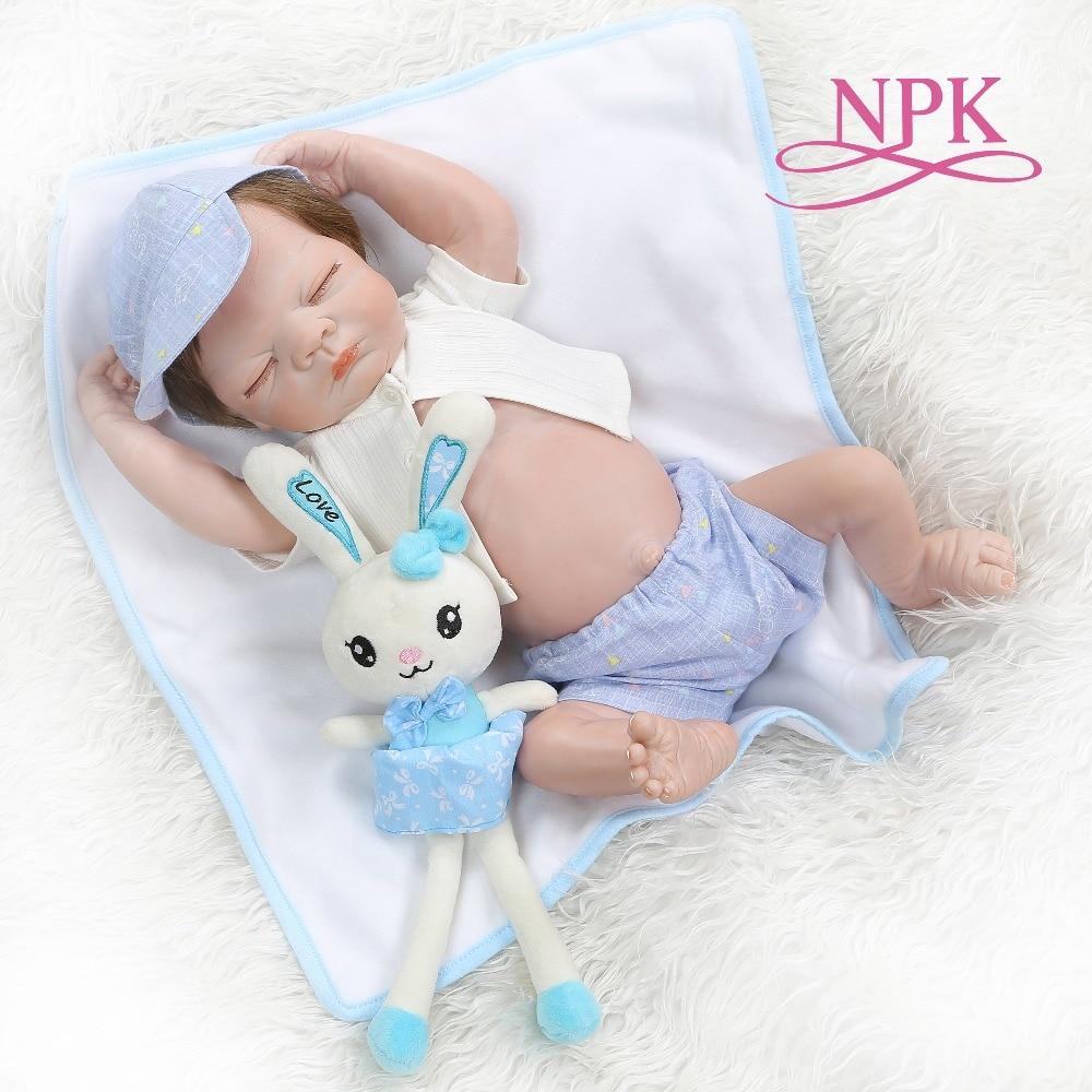 NPK 52CM bebe doll reborn full body silicone newborn sleeping baby boy bath toy Birthday GiftNPK 52CM bebe doll reborn full body silicone newborn sleeping baby boy bath toy Birthday Gift