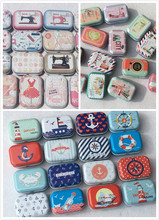 32Pc Ocean Sewing Machine Pattern Tin Box Candy Pill Metal Storage Box Mini Storage House Decoration Collectables 32pc box military design tin box mini metal coin saver box small jewerly collect case pill case 16 designs chocolate box gd20