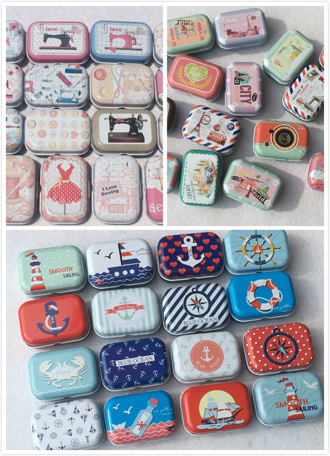 32Pc Ocean Sewing Machine Pattern Tin Box Candy Pill Metal Storage Box Mini Storage House Decoration Collectables