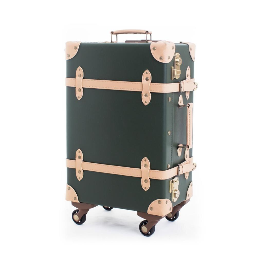 Super Vintage Koffer Roll Gepäck Spinner Frauen Tragen Auf Reisetasche DO-49