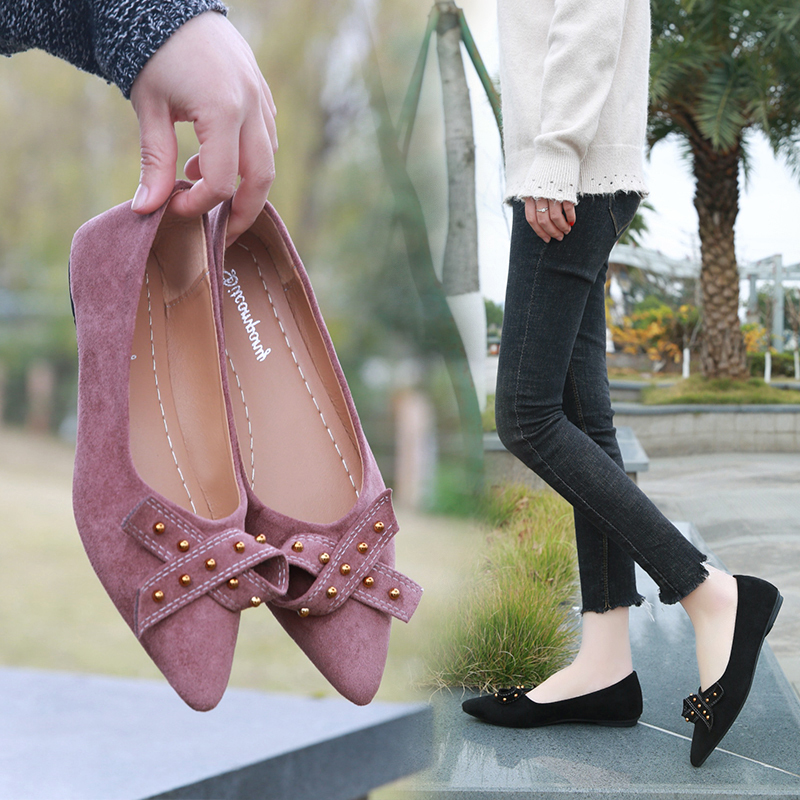 Spring Flats Women Shoes Bowtie Loafers   Suede     Leather   Elegant Low Heels Slip On Footwear Female Pointed Toe Rivet