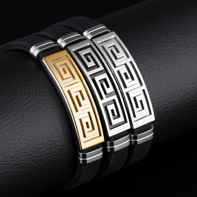 10Pcs/Lot Fashion Silicone Bracelet Men Jewelry Stainless Steel Great Wall Design Mens Jewellery Pulseras Hombre Man Bracelets