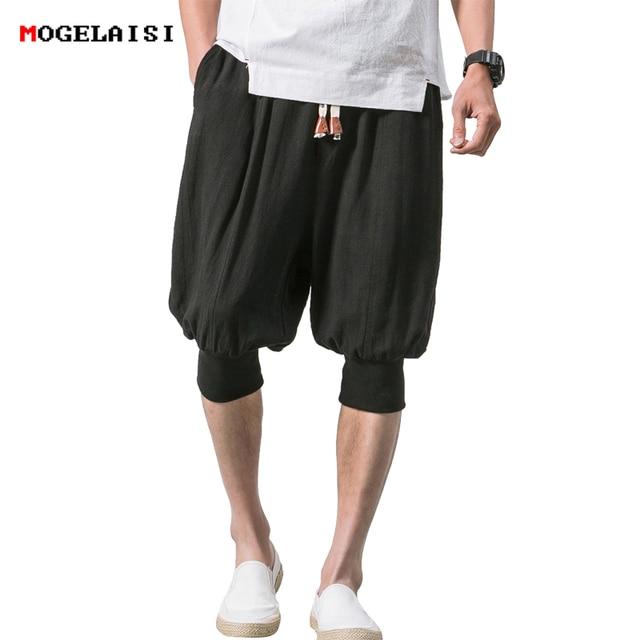 New 2018 shorts men summer cotton linen casual shorts Cuff loose elastic retro shorts knee Length shorts male size 5XL B375-K65