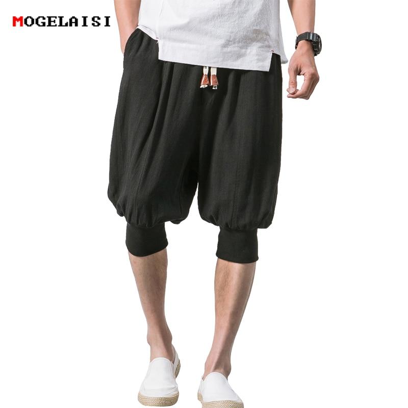 New 2019 Shorts Men Summer Cotton Linen Casual Shorts Cuff Loose Elastic Retro Shorts Knee Length Shorts Male Size 5XL B375-K65