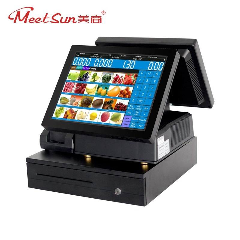 Meetsun Double Side 15 TFT LCD Touch Screen Monitor LCD POS System Cash Register POS Terminal Machine & 58mm Printer ,Cash box
