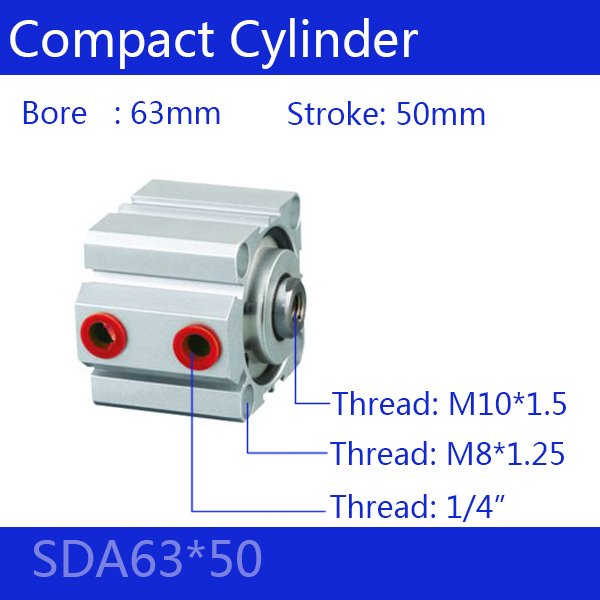 SDA63*50 Free shipping 63mm Bore 50mm Stroke Compact Air Cylinders SDA63X50 Dual Action Air Pneumatic Cylinder free shipping 63mm bore 50mm stroke pneumatic compact cylinder sda 63 50 aluminum alloy